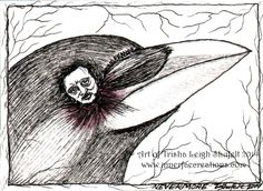 ACEO~Nevermore (c) 2014 Trisha Leigh Shufelt.  Edgar's face is about the size of a dime.