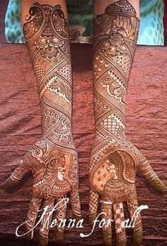 """We love it when henna artists tell a story in their designs. Adds so much value to this tradition of the bride wearing henna on her hands. Mehandhi Designs, Henna Art Designs, Wedding Mehndi Designs, Best Mehndi Designs, Mehndi Designs For Hands, Wedding Henna, Tattoo Designs, Mehndi Desing, Dulhan Mehndi Designs"