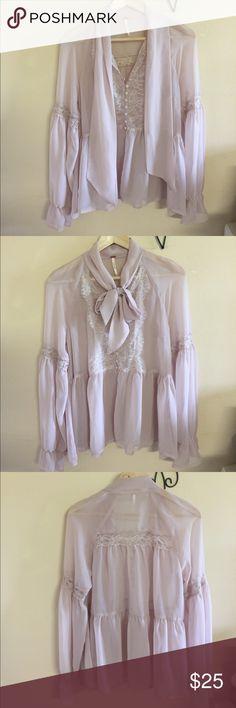 Free people blouse Bohemian sheer lace long sleeve blouse Free People Tops Blouses