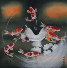 Nine Koi Fish Masterpiece Painting