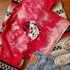 Georgia football t-shirt distressed University Of Georgia, Kids House, Alexander Mcqueen Scarf, Tees, Shirts, Football, Trending Outfits, Children, Clothes