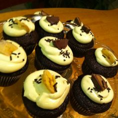 Banana cream and peanut butter cupcakes