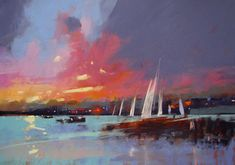 """Tony Allain, """"Sunset on the Fal,"""" pastel on Colourfix paper, 18 x 26 in Landscape Paintings, Watercolor Paintings, Landscapes, Pastel Paintings, Pinturas Color Pastel, Sand Art, Pastel Art, My Drawings, Surfing"""