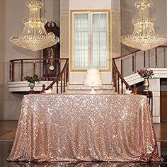 Buy Sequin Tablecloth Sparkle Rose Gold Sequin Table Cover Linens Overlay Runners for Wedding Birthday Party Baby Shower Banquet Home Decoration Glitter Round Square Rectangle Tablecloth at Wish - Shopping Made Fun Sequin Tablecloth, Tablecloth Sizes, Tablecloths, Elegant Party Decorations, Gold Decorations, Balloon Decorations, Table Overlays, Gold Baby Showers, Pearls