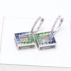Gemstone Jewelry Blue Sapphire & Diamond Earrings in 18k Gold by Equalli
