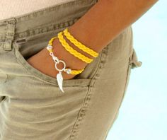 Pick COLOR / SIZE / CHARM - Angel Wing Charm Braided Triple Wrap Bracelet - Microfiber Faux Leather Suede Cord - Silver Clasp - Usa - 717