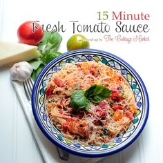 15 minute Fresh Tomato Sauce 6 c tomatoes (nice size cubes) (7 lg tomatoes)  variety nice and ripe. 3 tablespoons of your favorite olive oil 6 cloves of finely minced garlic 1/2 cup of basil torn or sliced 1 cup of thinly sliced scallions…cut from the white up 1 teaspoon of fresh thyme (optional) 1 teaspoon of hot pepper flakes (optional) 3 tablespoons of chopped Italian parsley Sea Salt and Freshly Ground Pepper to taste 2 tablespoons of balsamic vinegar 1 tablespoon of brown sugar