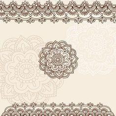 Hand-Drawn Henna Mehndi Tattoo Flowers and Paisley Border Doodle Illustration Design Elements Stock Photo