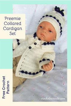 Free baby crochet pattern for preemie collared cardigan set on crochetncreate. #freebabycrochetpattern. Crochet Sweaters, Baby Sweaters, Crochet Hats, Stitch Patterns, Crochet Patterns, Premature Baby, All Free Crochet, Bobble Stitch, Crochet Baby Clothes