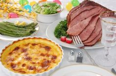 Healthy Easter Recipes:  Pineapple and Brown Sugar Glazed Ham, Scalloped Sweet Potatoes, Mashed Cauliflower, Glazed Carrots & Sugar Snap Peas, Deviled Eggs, & Carrot Cake.