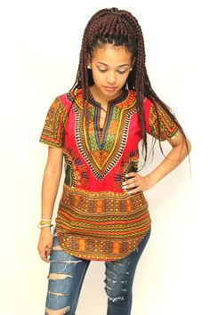 Dashiki red top by AfricanStyleAS on Etsy