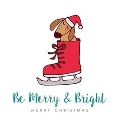 Printable Christmas Cards - Merry Bright Cute Dog in Skate Free Printable Christmas Cards, Printable Cards, Free Printables, Free Dogs, Christmas Dog, Merry And Bright, Homemade Gifts, Cute Puppies, Skate