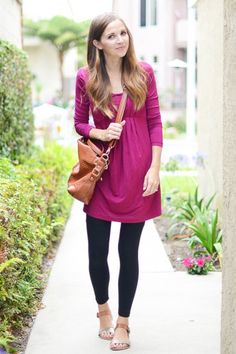 8 Mom Outfits: Day To Night.  Tunic and Leggings – DAY  Wearing a tunic and leggings is basically like wearing your pajamas all day while still looking put together.