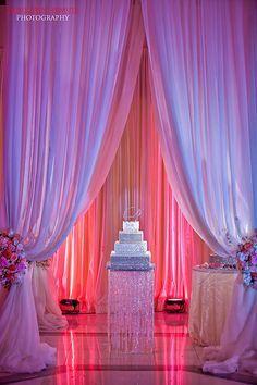 Gorgeous Atlanta wedding of NFL WR Harry Douglas & his beautiful bride Kierra - Planning & Design by Tiffany Cook Wedding Cake Designs, Wedding Cakes, Bling Cakes, Wedding Reception Decorations, Wedding Decor, Wedding Draping, Reception Entrance, Wedding Backdrops, Event Lighting