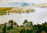 Zebegényi Dunakanyar (The Danube - Bend by Zebegény) Tempera on Canvas 50 x 70 cm