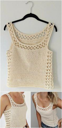 50 Easy Crochet Top Patterns for Beginners Crochet Tank Tops, Crochet Summer Tops, Crochet Cardigan, Pull Crochet, Easy Crochet, Knit Crochet, Crochet Stitches, Crochet Patterns, Crochet Ideas