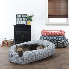 @Overstock - Majestic Pet Links Sherpa Bagel Pet Bed - The Links Sherpa Bagel bed makes a fashion statement in any room, the bolster is made of a durable 7 oz. outdoor treated polyester with water and stain resistance and a sherpa center cushion.  http://www.overstock.com/Pet-Supplies/Majestic-Pet-Links-Sherpa-Bagel-Pet-Bed/9464007/product.html?CID=214117 $54.99