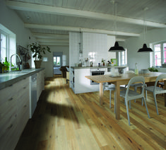 """Scandinavian kitchen with light hardwood floors? Sign us up! The Yosemite Hickory 5"""" Hardwood collection in the light Hickory Valley is a beautiful Solid Hardwood! The hickories bring beautiful grain patterns, where the oak floors have the classic tighter wood grain with subtle color variation from plank to starts at $9.99 a SQ FT"""