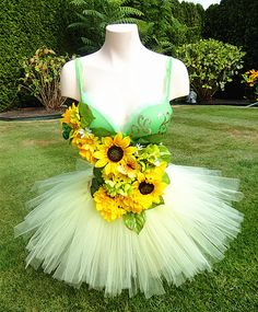 Sunflower Fairy Rave Outfit with a pale yellow tutu!