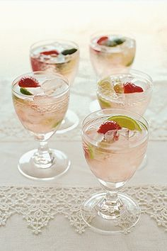 Serve yummy Strawberry Mojitos in our Sherry Glasses! See them here: http://eventsbypartyonrental.com/index.php/products-list/glassware/sherry-glass-detail  #weddingdrinks #drinks #yum