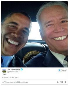 A must-see collection of President Obama's best and funniest candid moments, including adorable photos with kids, playful moments with his family, and other humorous antics.: Obama and Biden Selfie