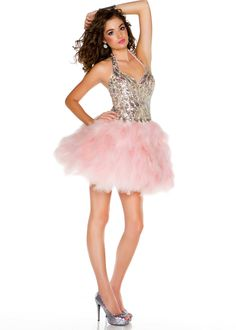Love the pink feathers! | Edge by Mac Duggal 85165B prom dress
