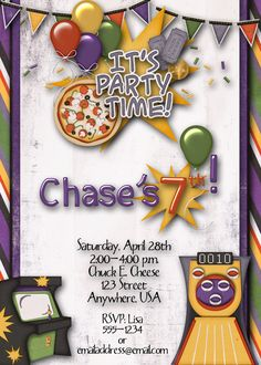Video Game Arcade and Pizza Birthday Party Invitation
