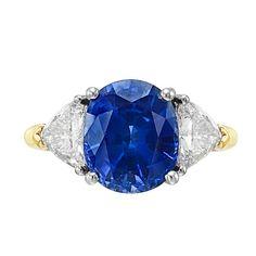 4.33 Carat Cushion-Cut Sapphire & Diamond Ring