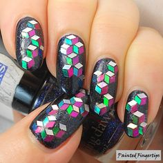 Glitter Placement: Cubes in Space | Painted Fingertips