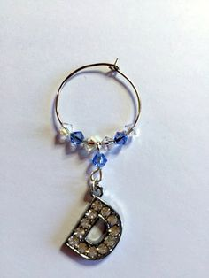 Letter 'D' Wine Glass Charm - with Swarovski Crystals - birthstone gift idea by Makewithlovecrafts on Etsy