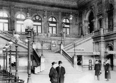 Wiener Südbahnhof (South train station of Vienna) around 1900 Architecture Mapping, Historical Architecture, Monuments, S Bahn, Victorian Interiors, Heart Of Europe, Good Old Times, Vienna Austria, Train Station