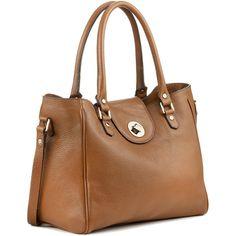 Charlena Bag ($240) ❤ liked on Polyvore featuring bags, handbags, shoulder bags, purses, bolsas, sacs, shoulder handbags, brown leather shoulder bag, leather hand bags and shoulder strap purses