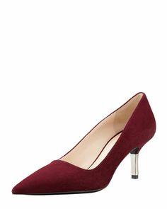 Low-Heel Suede Pointed-Toe Pump, Garnet by PRADA at Bergdorf Goodman.