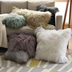 Mongolian lamb pillow cover // west elm Everyone needs a furry pillow! Cute Pillows, Fluffy Pillows, Throw Pillows, Accent Pillows, Fall Pillows, Fur Throw, Sofa Throw, Cozy Blankets, Linen Pillows
