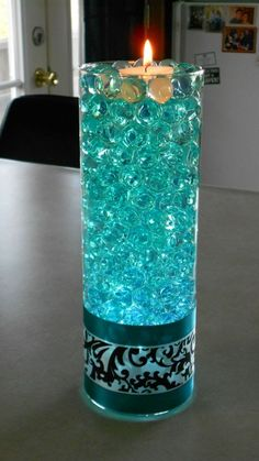 Turquoise Waterpearl Centerpeices : wedding black teal turquoise and black centerpiece 559