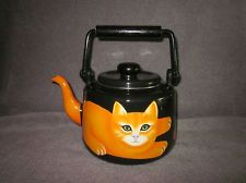 Martin Leman Halloween Colors Black Orange Cat Enamel Teapot With Lid