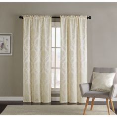 Vcny Jasmine Curtain Panel Pair (80x84 - Ivory), Size 84 Inches (Polyester, Damask)
