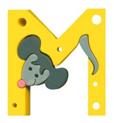 Montessori wooden puzzle letter Mouse made by hand of by Ludimondo, $6.00