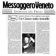 23 novembre 2000 - Messagero Veneto - Mario Brandolin su Cirano di Bergerac di Rostand, regia di Peppino Patroni Griffi con Sebastiano Lo Monaco, Marina Biondi