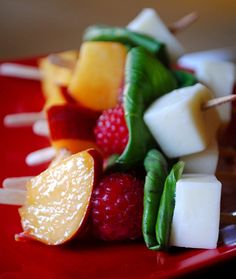 Summer Fruit Kabobs with Raspberry Wine Sauce
