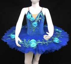 Ballet Tutu  Beautiful blue Flowers Children's by TheDancersChoice, $350.00