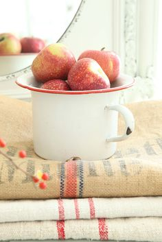enamelware and vintage linens