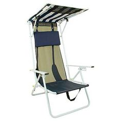 Camping Furniture 16038: Quik Shade Beach Chair - Navy Blue Striped BUY IT NOW ONLY: $31.49