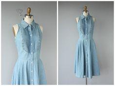 Vintage Chambray Dress Chambray Shirtdress by CustardHeartVintage
