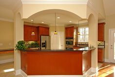 Small Kitchen Layout Ideas with Island for Effective Use: Luxurious Kitchen Design With Marble Countertop Made With Best Small Kitchen Layou...