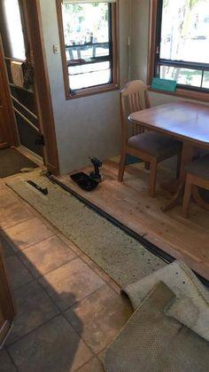 DIY RV REFLOORING WITH A FLUSH SLIDE - Mortons On The Move Vinal Plank Flooring, Vinyl Planks, Laminate Flooring, Camper Flooring, Camper Repair, Rv Redo, Rv Homes, Caravan Renovation, Diy Rv