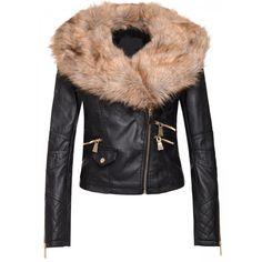 Krátka kožená bunda s kožušinou