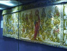 Great Festal Altar Frontal embroidered in 1900's by ladies of Liverpool Cathedral Embroidery Association is on display in Elizabeth Hoare Gallery, Liverpool Cathedral
