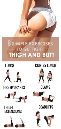 Workout Challenge Amazing 8 Simple Exercises to Get Tight Thighs and Buttocks Reduce Belly Fat, Lose Belly, Reduce Hips, Pilates, Tight Thighs, Fitness Tips, Fitness Motivation, Health Fitness, Fitness Bodybuilding