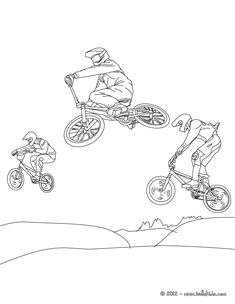 mice BMX coloring page for all cycling lover. More sports coloring pages on hellokids.com